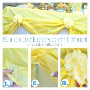 plastic table cloth sun flower